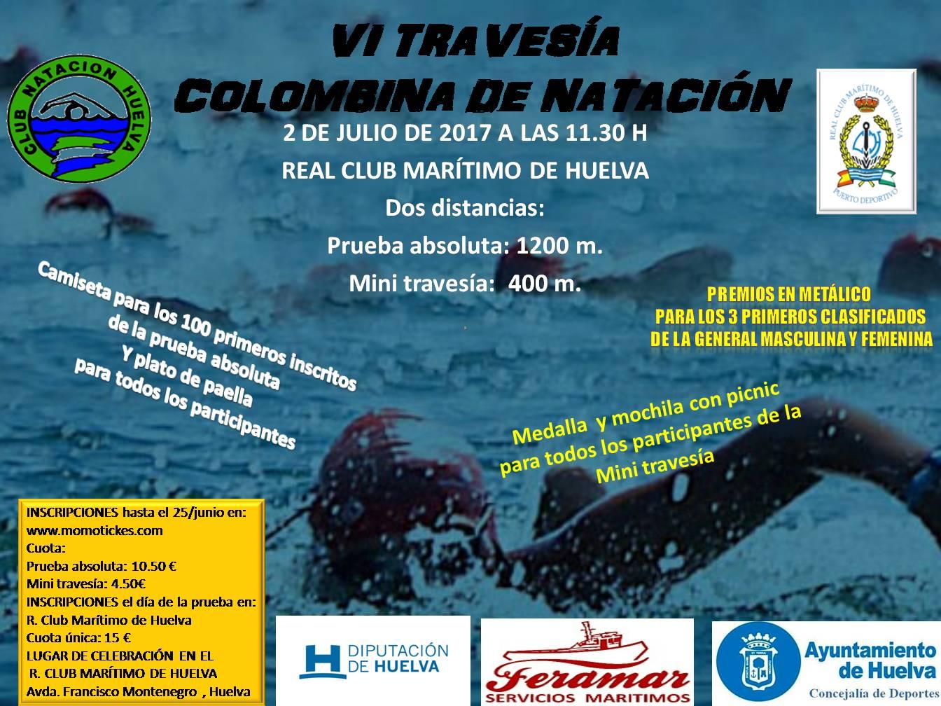 CARTEL VI TRAVESÍA COLOMBINA DE NATACIÓN